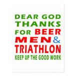 Dear God Thanks For Beer Men And Triathlon Postcards