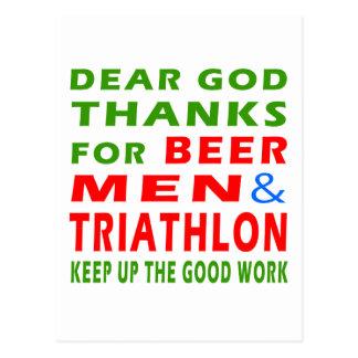 Dear God Thanks For Beer Men And Triathlon Postcard