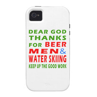 Dear God Thanks For Beer Men And Water Skiing iPhone 4 Cover