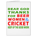 Dear God Thanks For Beer Women And Cricket Greeting Card
