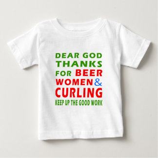 Dear God Thanks For Beer Women And Curling T Shirt