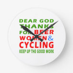 Dear God Thanks For Beer Women And Cycling Round Clock