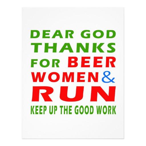 Dear God Thanks For Beer Women And Run Letterhead Design
