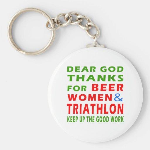 Dear God Thanks For Beer Women And Triathlon Basic Round Button Keychain