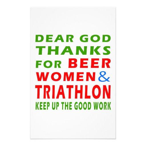 Dear God Thanks For Beer Women And Triathlon Custom Stationery