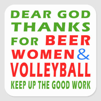 Dear God Thanks For Beer Women And Volleyball Stickers