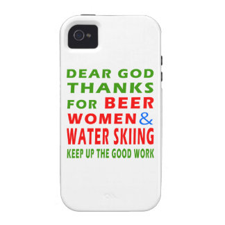 Dear God Thanks For Beer Women And Water Skiing iPhone 4/4S Cover