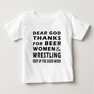 Dear God Thanks For Beer Women and Wrestling Tshirts