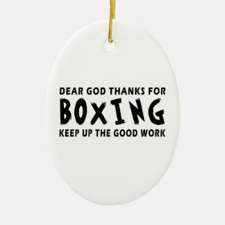 Dear God Thanks For Boxing Keep Up Good Work Double-Sided Oval Ceramic Christmas Ornament