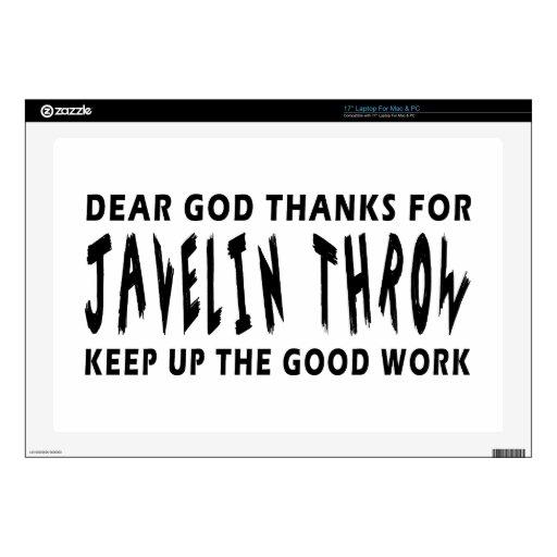 "Dear God Thanks For Javelin throw Decal For 17"" Laptop"