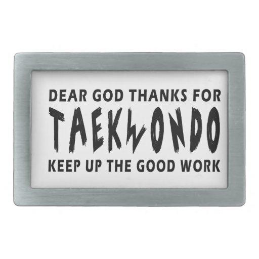 Dear God Thanks For Taekwondo Rectangular Belt Buckles