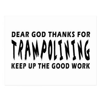 Dear God Thanks For Trampolining Postcard
