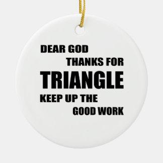 Dear God Thanks For Triangle Ceramic Ornament