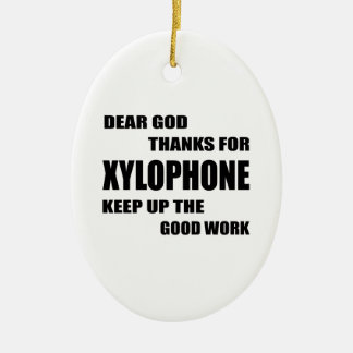 Dear God Thanks For Xylophone Double-Sided Oval Ceramic Christmas Ornament