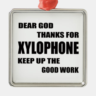 Dear God Thanks For Xylophone Square Metal Christmas Ornament