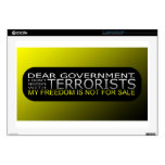 """Dear Government: I Don't Negotiate With Terrorists Skin For 17"""" Laptop"""