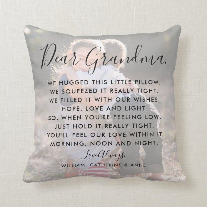 Dear Grandma Custom Message Photo Mother S Day Throw Pillow Zazzle Com