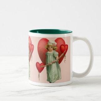 Dear Heart Girl Two-Tone Coffee Mug
