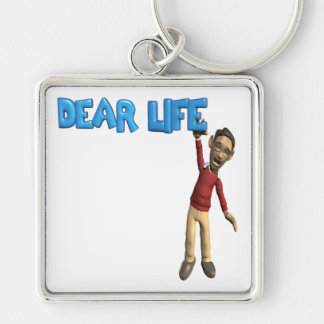 Dear Life Silver-Colored Square Keychain
