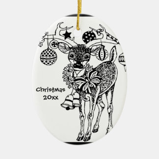 Dear Little Christmas Deer Got In Trouble! Design Ceramic Ornament