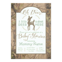 Dear little Deer baby shower invitation on camo