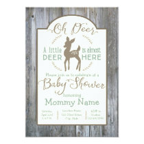 Dear little Deer baby shower invitation on wood