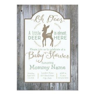 Dear little Deer baby shower invitation on wood
