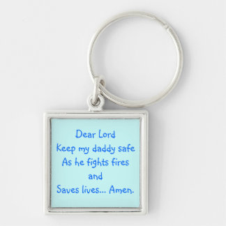 dear Lord Silver-Colored Square Keychain