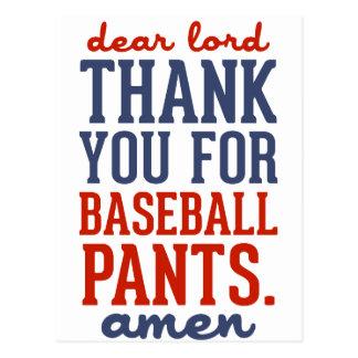 Dear Lord Thank You For Baseball Pants Postcard