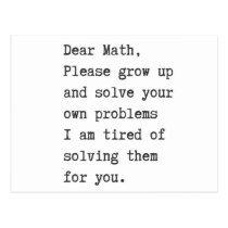 Dear math solve your own problems postcard