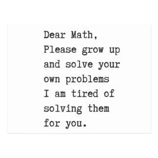 Dear math solve your own problems postcard