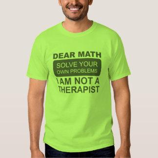 Dear Math. Solve your own problems. T-shirt. Tee Shirt