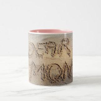 Dear Mom, sand writing beach love mug