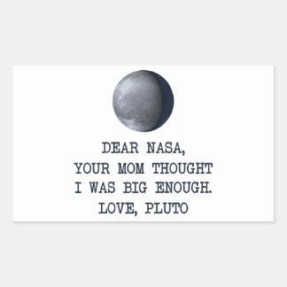 Dear Nasa Love Pluto Rectangular Sticker