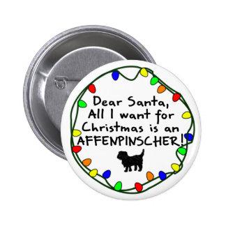 Dear Santa Affenpinscher 2 Inch Round Button