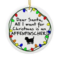 Dear Santa Affenpinscher Christmas Ornament