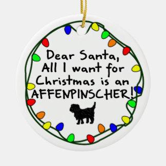 Dear Santa Affenpinscher Double-Sided Ceramic Round Christmas Ornament