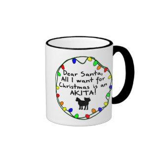 Dear Santa Akita Ringer Mug