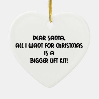 Dear Santa All I Want For Christmas Is A Bigger Li Double-Sided Heart Ceramic Christmas Ornament