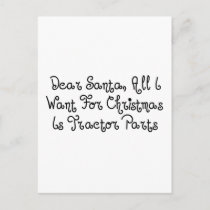 Dear Santa All I Want For Christmas Is Tractor Par Holiday Postcard