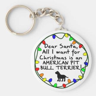 Dear Santa American Pit Bull Terrier Keychain