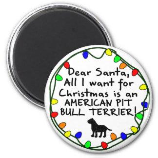 Dear Santa American Pit Bull Terrier Refrigerator Magnets