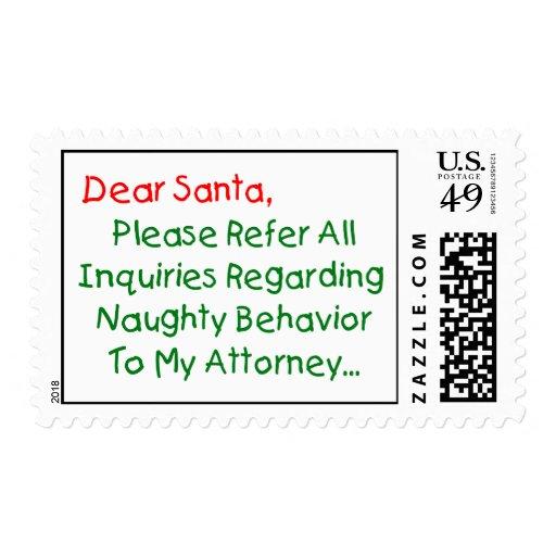Dear Santa Attorney - Funny Christmas Letter Postage | Zazzle