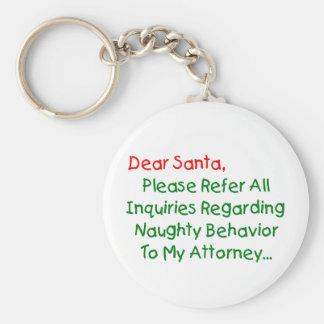 Dear Santa Attorney Keychains