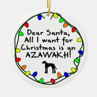 Dear Santa Azawakh Christmas Tree Ornaments