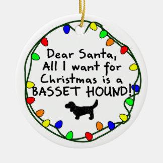 Dear Santa Basset Hound Christmas Tree Ornament