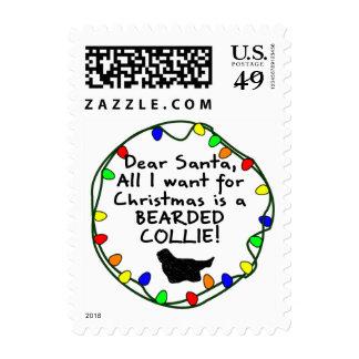 Dear Santa Bearded Collie Stamp