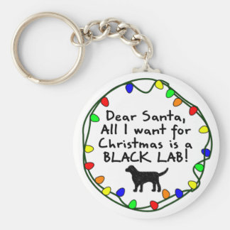 Dear Santa Black Lab Keychain