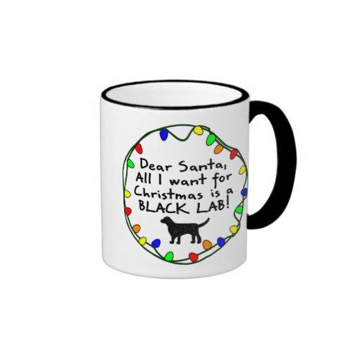 Dear Santa Black Lab Ringer Mug