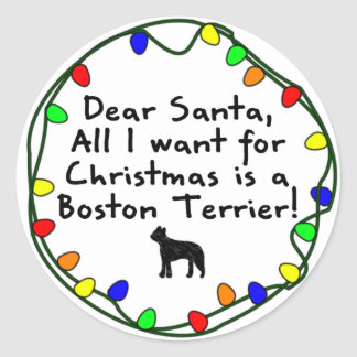 Dear Santa Boston Terrier Classic Round Sticker